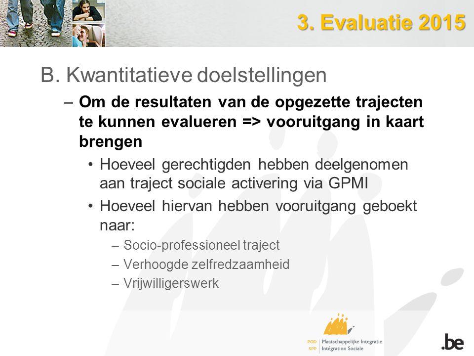 3. Evaluatie 2015 B. Kwantitatieve doelstellingen –Om de resultaten van de opgezette trajecten te kunnen evalueren => vooruitgang in kaart brengen Hoe
