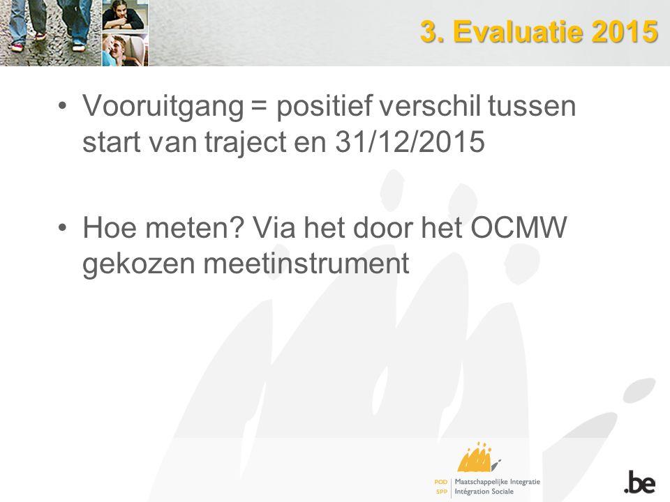 Vooruitgang = positief verschil tussen start van traject en 31/12/2015 Hoe meten? Via het door het OCMW gekozen meetinstrument