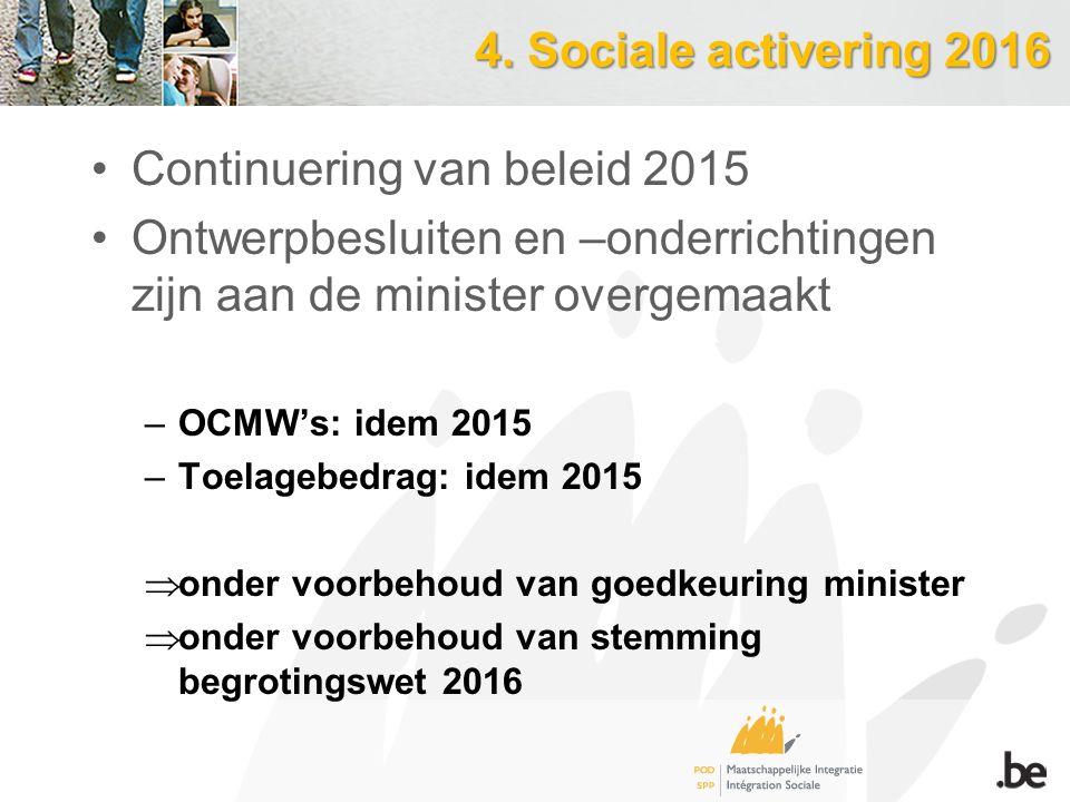 4. Sociale activering 2016 Continuering van beleid 2015 Ontwerpbesluiten en –onderrichtingen zijn aan de minister overgemaakt –OCMW's: idem 2015 –Toel