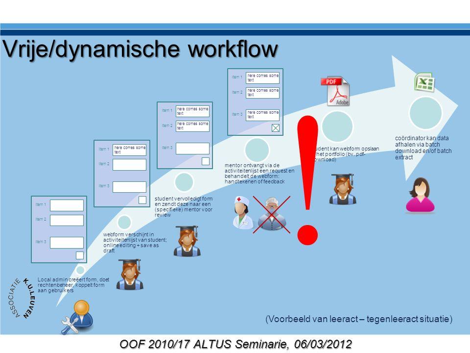 OOF 2010/17 ALTUS Seminarie, 06/03/2012 Vrije/dynamische workflow Local admin creëert form, doet rechtenbeheer, koppelt form aan gebruikers webform ve