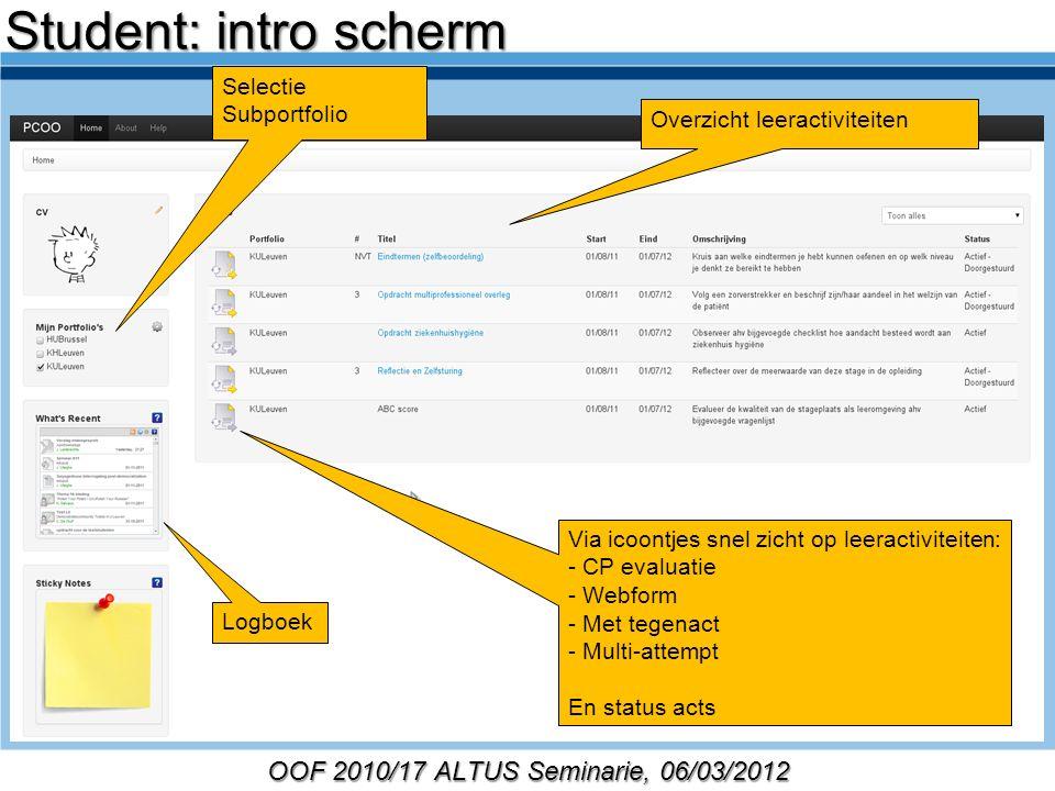 OOF 2010/17 ALTUS Seminarie, 06/03/2012 Selectie Subportfolio Overzicht leeractiviteiten Logboek Via icoontjes snel zicht op leeractiviteiten: - CP ev