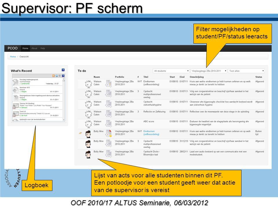 OOF 2010/17 ALTUS Seminarie, 06/03/2012 Filter mogelijkheden op student/PF/status leeracts Logboek Lijst van acts voor alle studenten binnen dit PF.