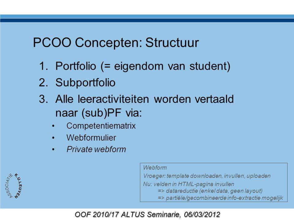 OOF 2010/17 ALTUS Seminarie, 06/03/2012 PCOO Concepten: Structuur 1.Portfolio (= eigendom van student) 2.Subportfolio 3.Alle leeractiviteiten worden v