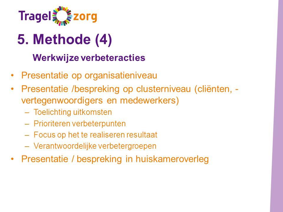 5. Methode (4) Werkwijze verbeteracties Presentatie op organisatieniveau Presentatie /bespreking op clusterniveau (cliënten, - vertegenwoordigers en m