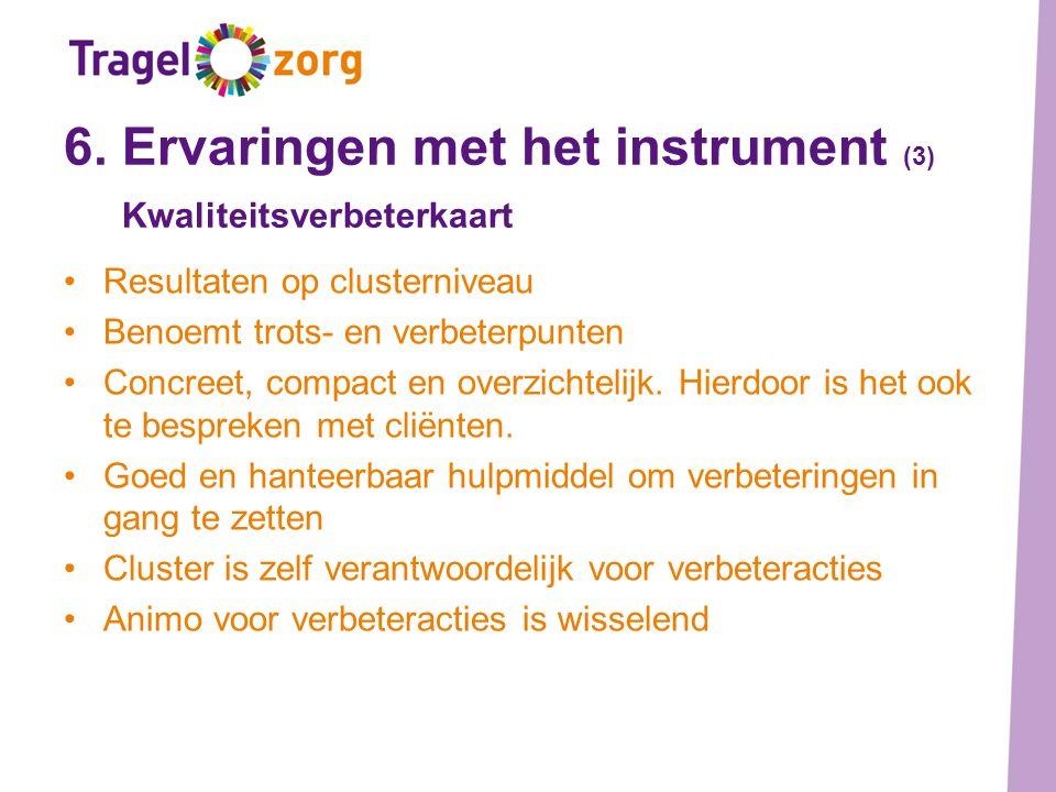 6. Ervaringen met het instrument (3) Kwaliteitsverbeterkaart Resultaten op clusterniveau Benoemt trots- en verbeterpunten Concreet, compact en overzic