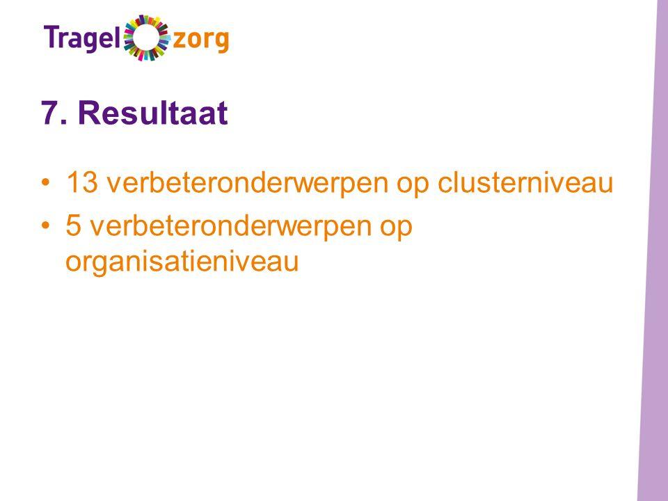 7. Resultaat 13 verbeteronderwerpen op clusterniveau 5 verbeteronderwerpen op organisatieniveau