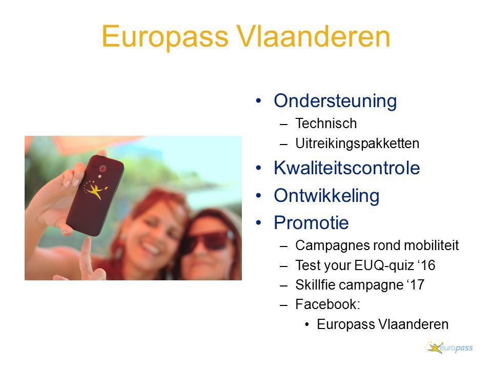Europass Vlaanderen Ondersteuning –Technisch –Uitreikingspakketten Kwaliteitscontrole Ontwikkeling Promotie –Campagnes rond mobiliteit –Test your EUQ-quiz '16 –Skillfie campagne '17 –Facebook: Europass Vlaanderen