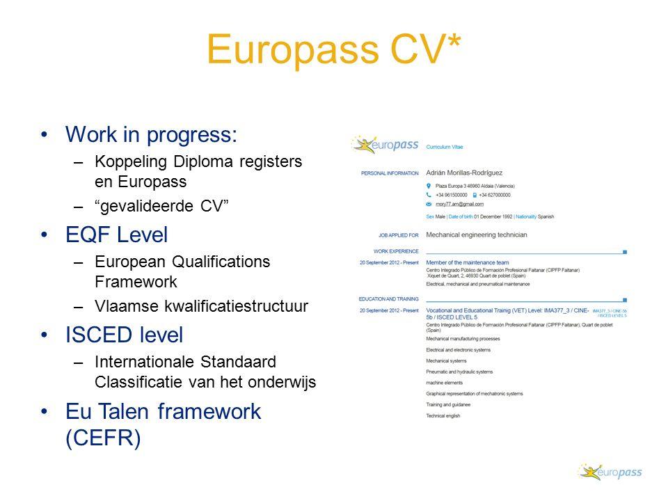Europass CV* Work in progress: –Koppeling Diploma registers en Europass – gevalideerde CV EQF Level –European Qualifications Framework –Vlaamse kwalificatiestructuur ISCED level –Internationale Standaard Classificatie van het onderwijs Eu Talen framework (CEFR)