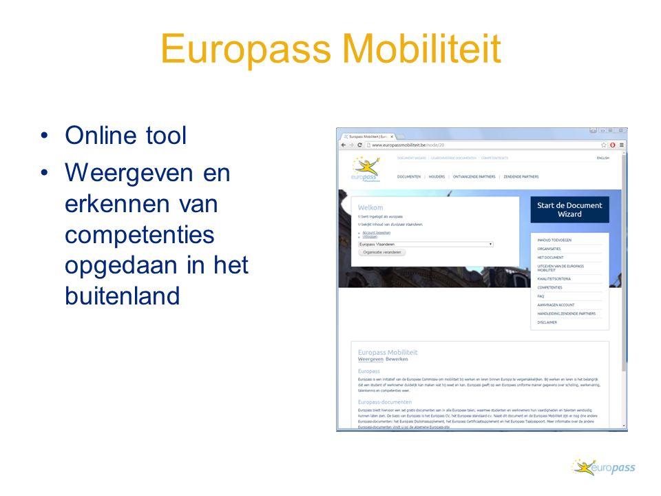Europass Mobiliteit Online tool Weergeven en erkennen van competenties opgedaan in het buitenland