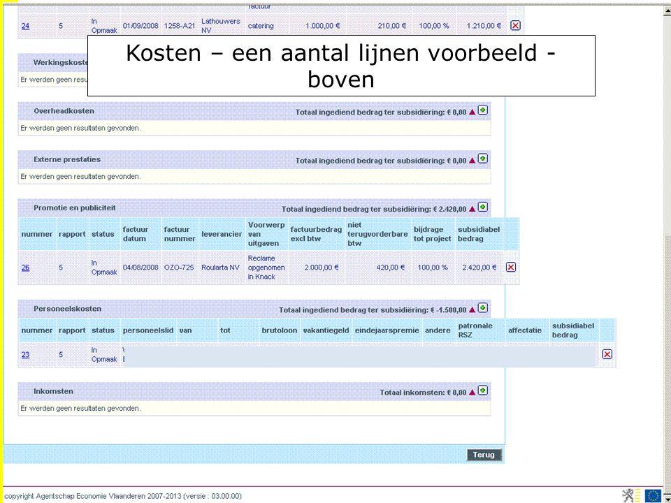 EFRO.be Kosten – een aantal lijnen voorbeeld - boven