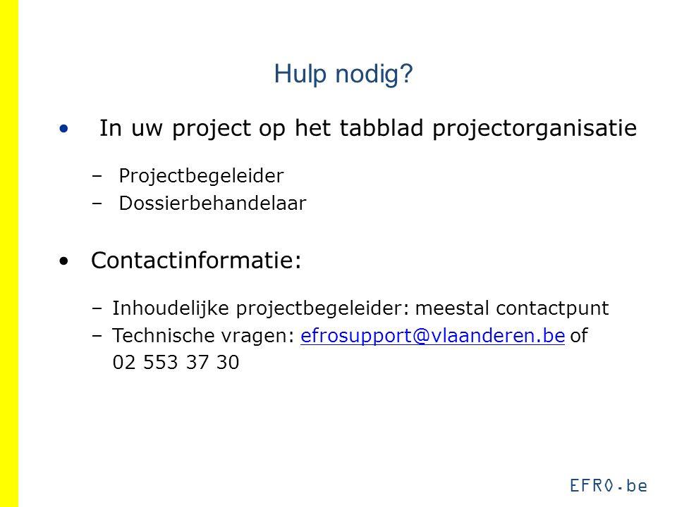 Hulp nodig? In uw project op het tabblad projectorganisatie – Projectbegeleider – Dossierbehandelaar Contactinformatie: –Inhoudelijke projectbegeleide