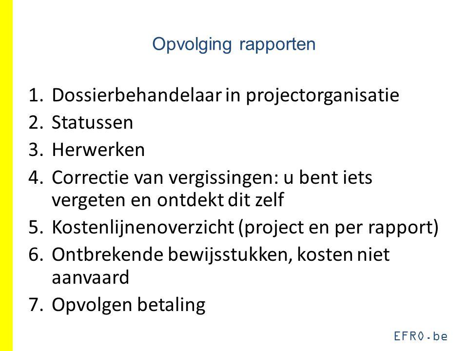 EFRO.be Opvolging rapporten 1.Dossierbehandelaar in projectorganisatie 2.Statussen 3.Herwerken 4.Correctie van vergissingen: u bent iets vergeten en o