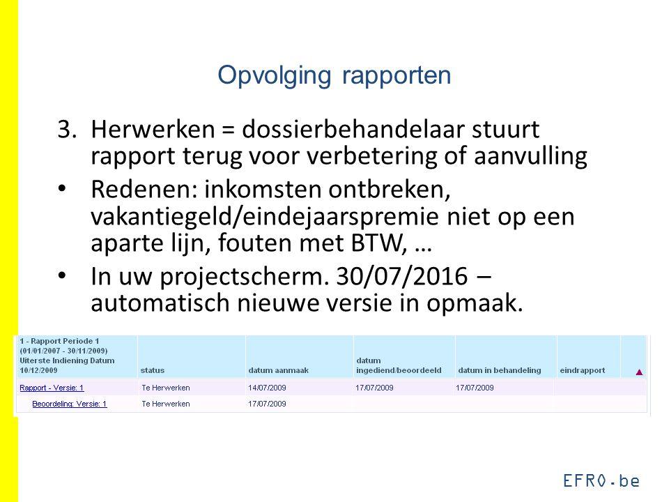 EFRO.be Opvolging rapporten 3.Herwerken = dossierbehandelaar stuurt rapport terug voor verbetering of aanvulling Redenen: inkomsten ontbreken, vakanti