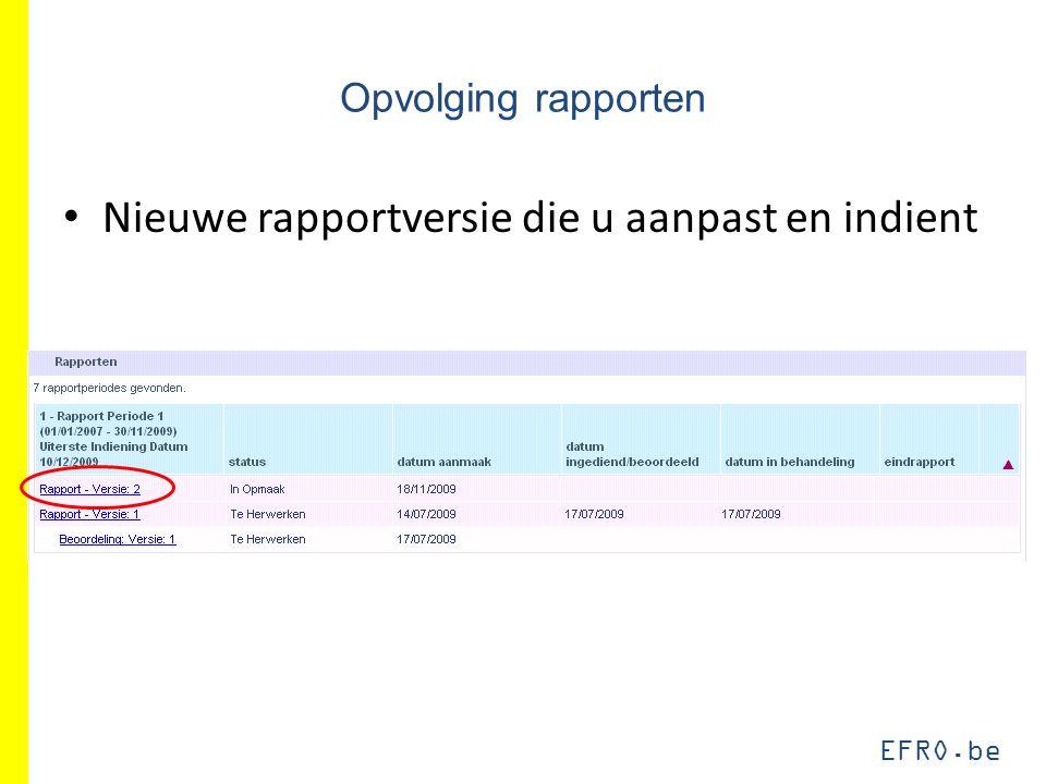 EFRO.be Opvolging rapporten Nieuwe rapportversie die u aanpast en indient