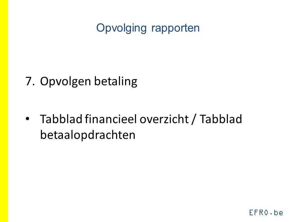 EFRO.be Opvolging rapporten 7.Opvolgen betaling Tabblad financieel overzicht / Tabblad betaalopdrachten