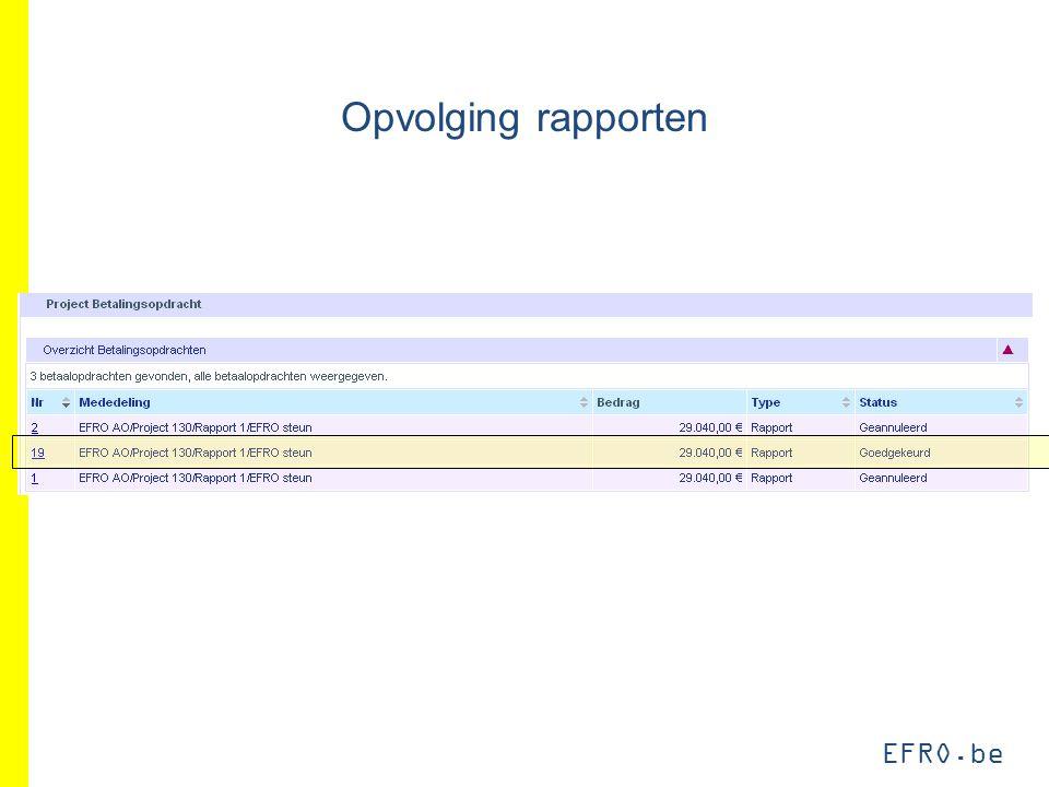 EFRO.be Opvolging rapporten