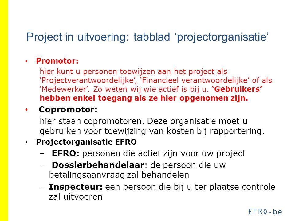 EFRO.be Project in uitvoering: tabblad 'projectorganisatie' Promotor: hier kunt u personen toewijzen aan het project als 'Projectverantwoordelijke', '