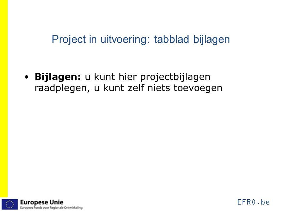 EFRO.be Project in uitvoering: tabblad bijlagen Bijlagen: u kunt hier projectbijlagen raadplegen, u kunt zelf niets toevoegen