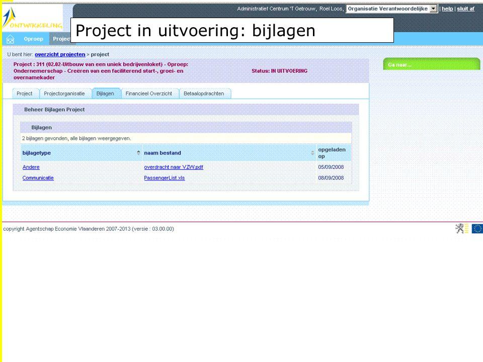 EFRO.be Project in uitvoering: bijlagen