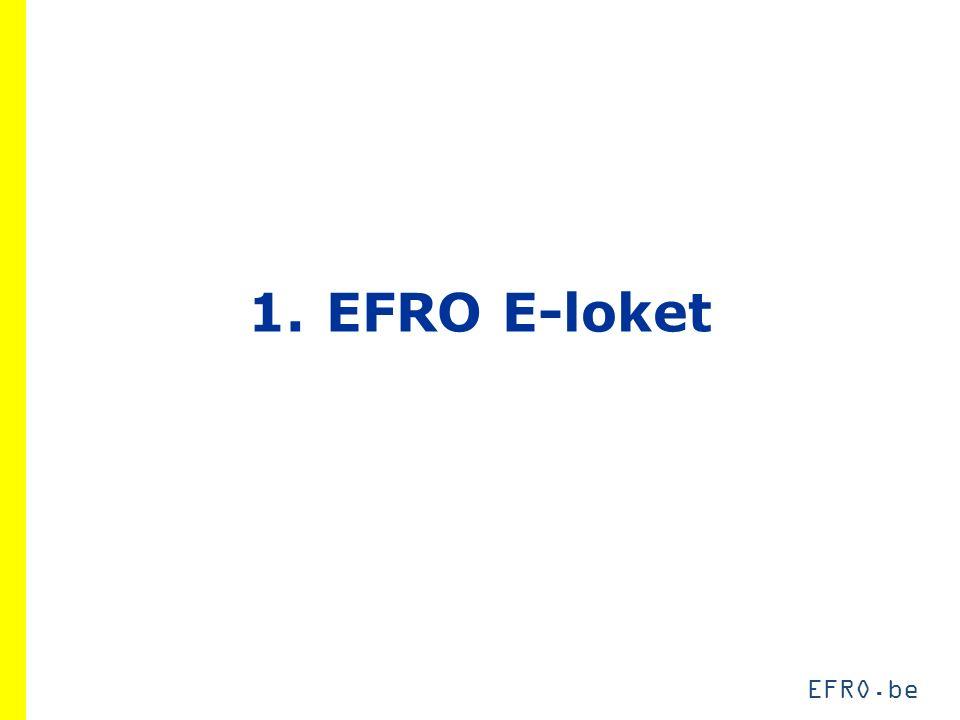 EFRO.be 4.2 Projectrapportering Praktisch