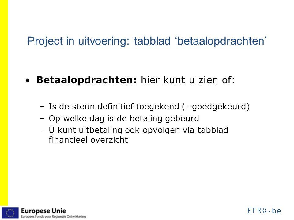 EFRO.be Project in uitvoering: tabblad 'betaalopdrachten' Betaalopdrachten: hier kunt u zien of: –Is de steun definitief toegekend (=goedgekeurd) –Op welke dag is de betaling gebeurd –U kunt uitbetaling ook opvolgen via tabblad financieel overzicht