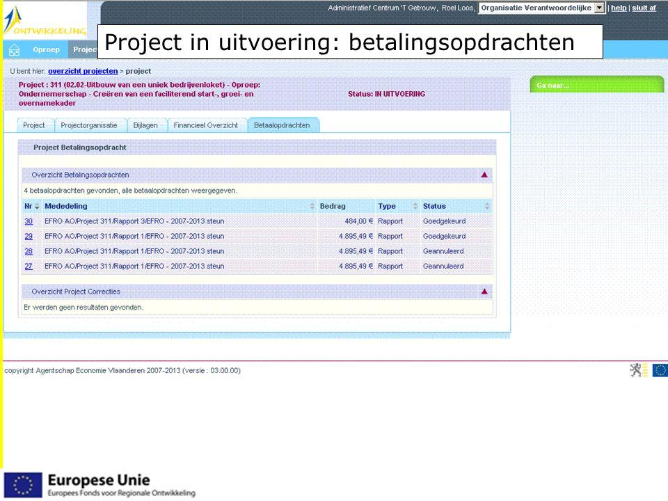 EFRO.be Project in uitvoering: betalingsopdrachten
