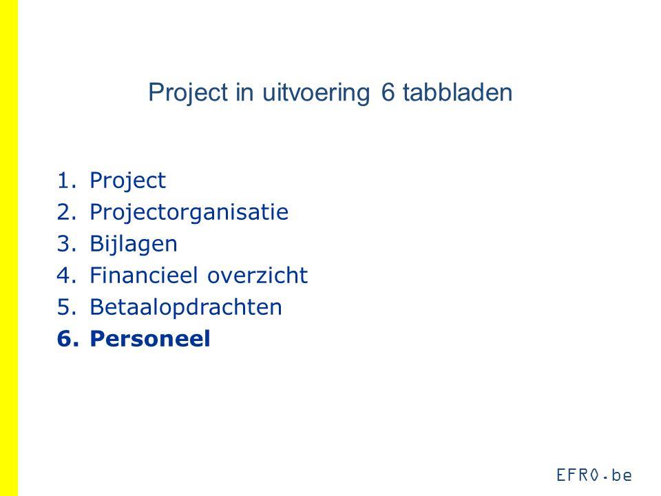 EFRO.be Project in uitvoering 6 tabbladen 1.Project 2.Projectorganisatie 3.Bijlagen 4.Financieel overzicht 5.Betaalopdrachten 6.Personeel