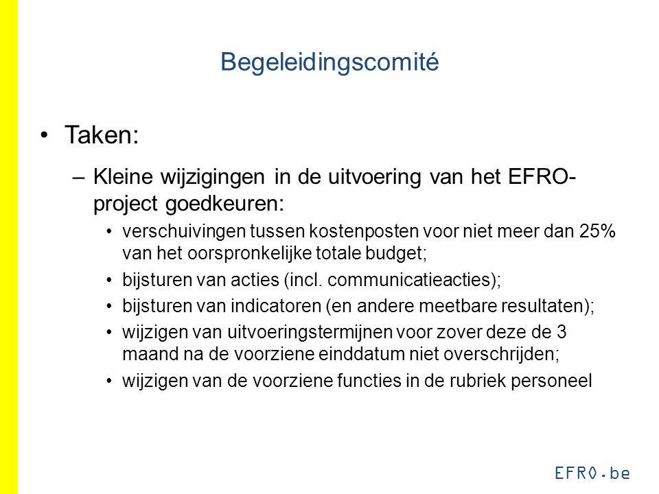 EFRO.be Begeleidingscomité Taken: –Kleine wijzigingen in de uitvoering van het EFRO- project goedkeuren: verschuivingen tussen kostenposten voor niet meer dan 25% van het oorspronkelijke totale budget; bijsturen van acties (incl.
