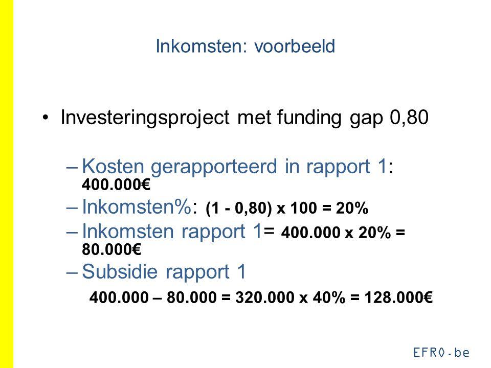 EFRO.be Inkomsten: voorbeeld Investeringsproject met funding gap 0,80 –Kosten gerapporteerd in rapport 1: 400.000€ –Inkomsten%: (1 - 0,80) x 100 = 20% –Inkomsten rapport 1= 400.000 x 20% = 80.000€ –Subsidie rapport 1 400.000 – 80.000 = 320.000 x 40% = 128.000€