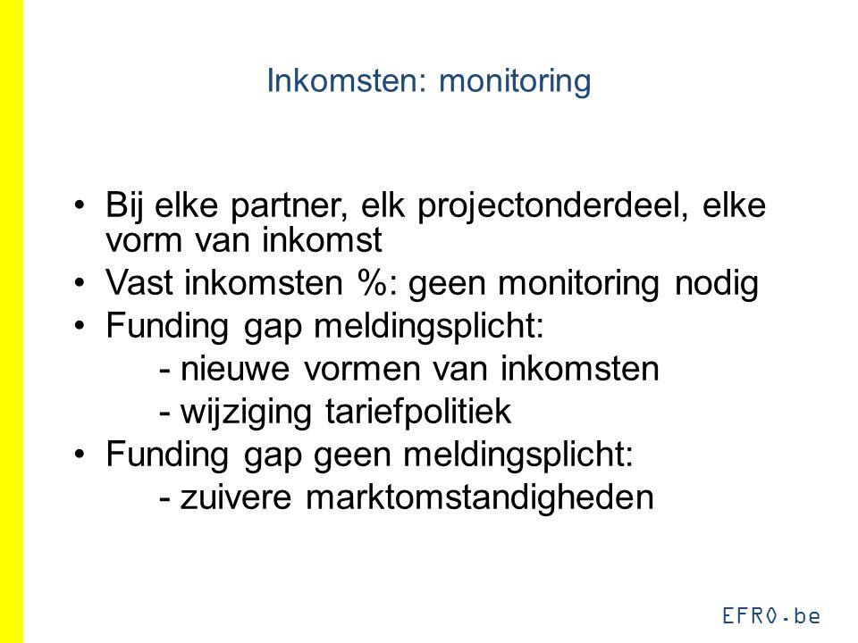 EFRO.be Inkomsten: monitoring Bij elke partner, elk projectonderdeel, elke vorm van inkomst Vast inkomsten %: geen monitoring nodig Funding gap meldingsplicht: - nieuwe vormen van inkomsten - wijziging tariefpolitiek Funding gap geen meldingsplicht: - zuivere marktomstandigheden
