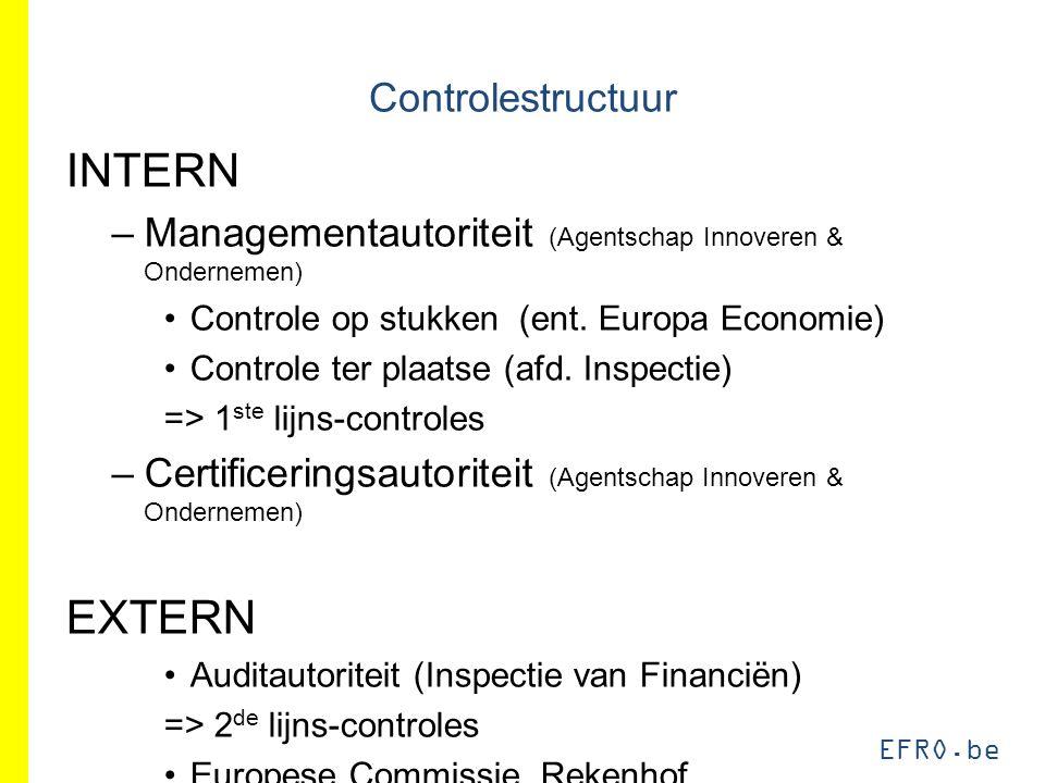 EFRO.be Controlestructuur INTERN –Managementautoriteit (Agentschap Innoveren & Ondernemen) Controle op stukken (ent. Europa Economie) Controle ter pla