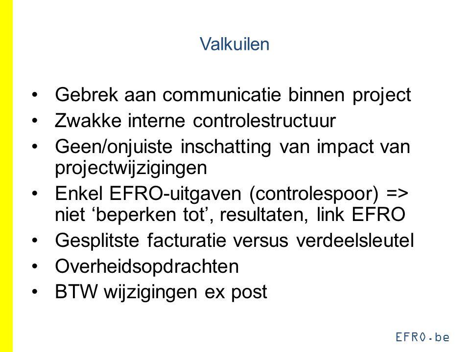 EFRO.be Valkuilen Gebrek aan communicatie binnen project Zwakke interne controlestructuur Geen/onjuiste inschatting van impact van projectwijzigingen