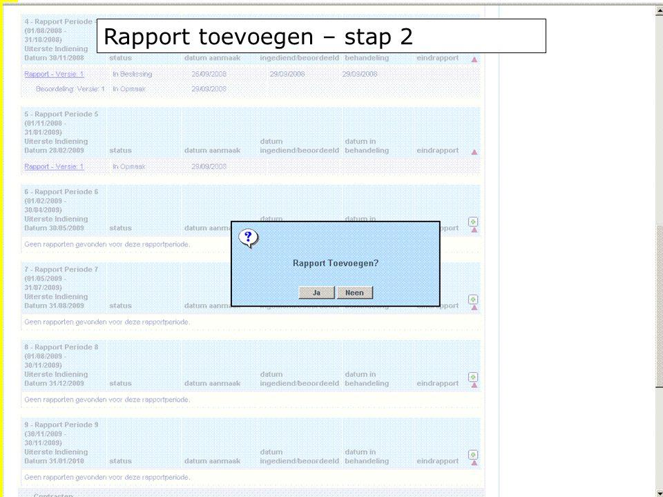 EFRO.be Rapport toevoegen – stap 2