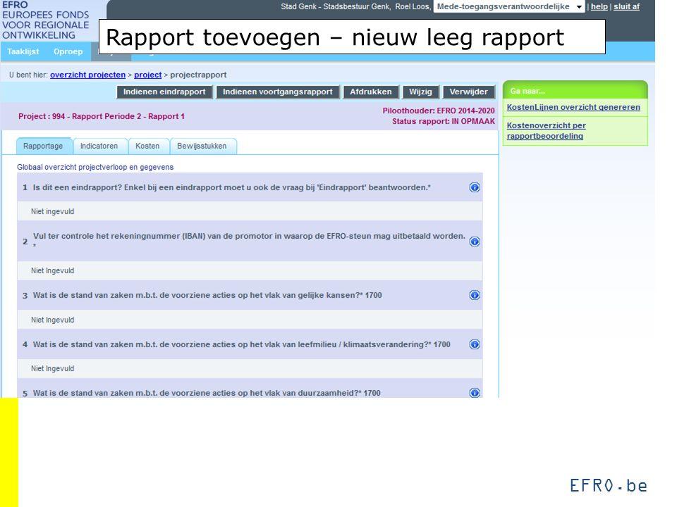 EFRO.be Rapport toevoegen – nieuw leeg rapport