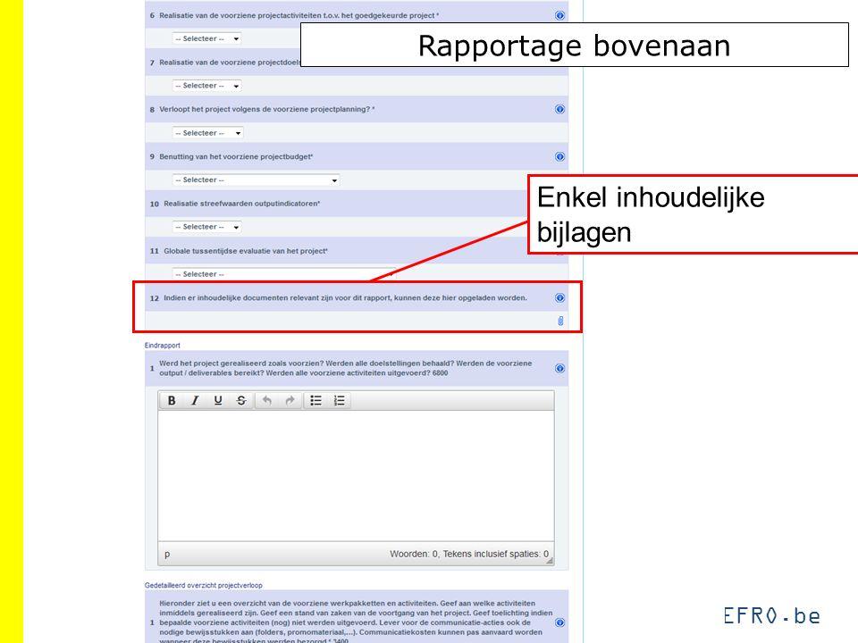 EFRO.be Rapportage bovenaan Enkel inhoudelijke bijlagen