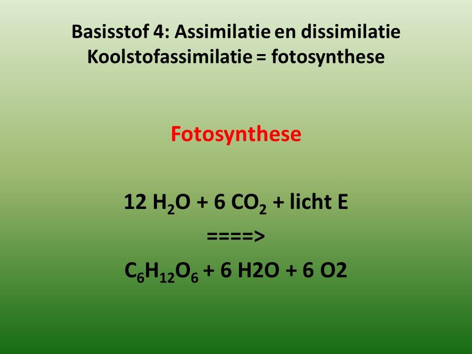 Basisstof 4: Assimilatie en dissimilatie Koolstofassimilatie = fotosynthese Fotosynthese 12 H 2 O + 6 CO 2 + licht E ====> C 6 H 12 O 6 + 6 H2O + 6 O2