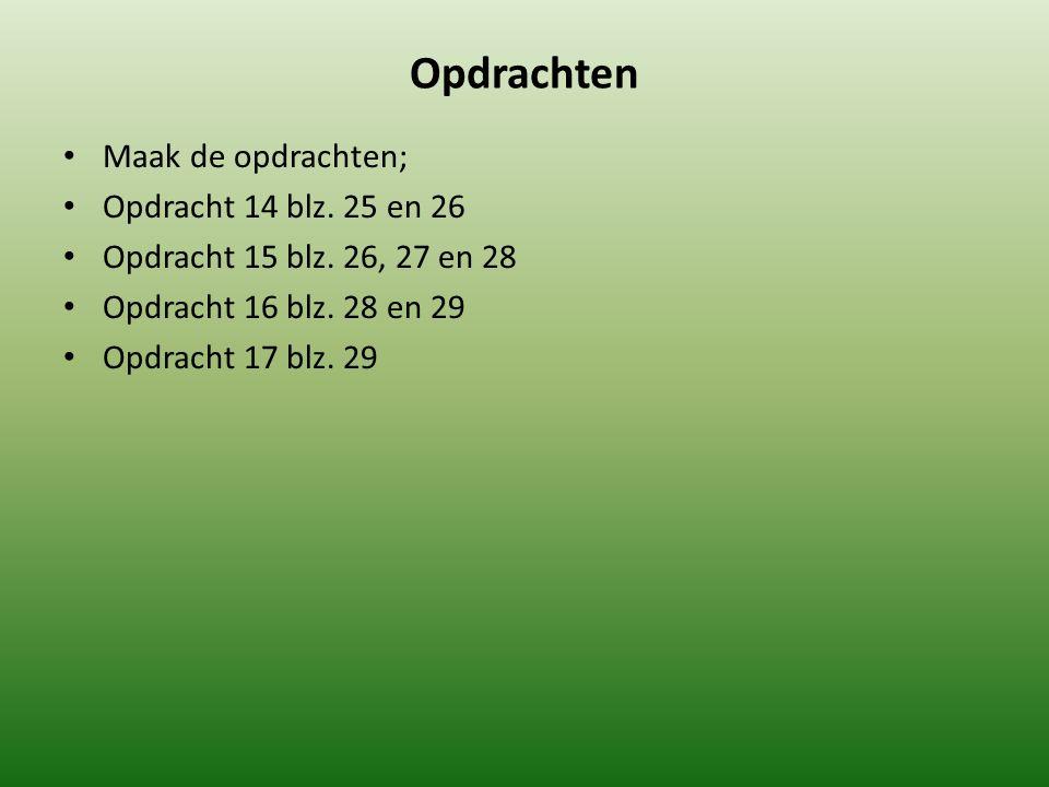 Opdrachten Maak de opdrachten; Opdracht 14 blz. 25 en 26 Opdracht 15 blz. 26, 27 en 28 Opdracht 16 blz. 28 en 29 Opdracht 17 blz. 29