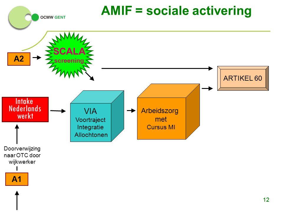 12 A2 A1 ARTIKEL 60 Intake Nederlands werkt AMIF = sociale activering 12 VIA Voortraject Integratie Allochtonen Arbeidszorg met Cursus MI SCALA screening Doorverwijzing naar OTC door wijkwerker