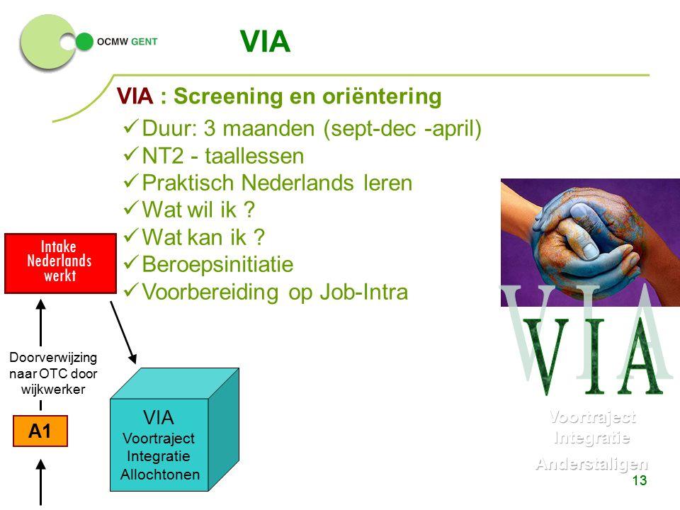 13 A1 Intake Nederlands werkt VIA 13 VIA Voortraject Integratie Allochtonen Doorverwijzing naar OTC door wijkwerker Duur: 3 maanden (sept-dec -april) NT2 - taallessen Praktisch Nederlands leren Wat wil ik .