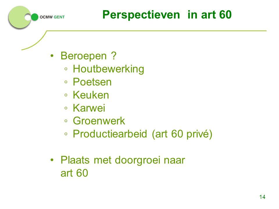 14 Perspectieven in art 60 Beroepen ? ◦Houtbewerking ◦Poetsen ◦Keuken ◦Karwei ◦Groenwerk ◦Productiearbeid (art 60 privé) Plaats met doorgroei naar art