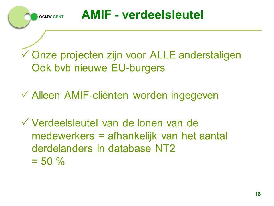 16  Onze projecten zijn voor ALLE anderstaligen Ook bvb nieuwe EU-burgers  Alleen AMIF-cliënten worden ingegeven  Verdeelsleutel van de lonen van d