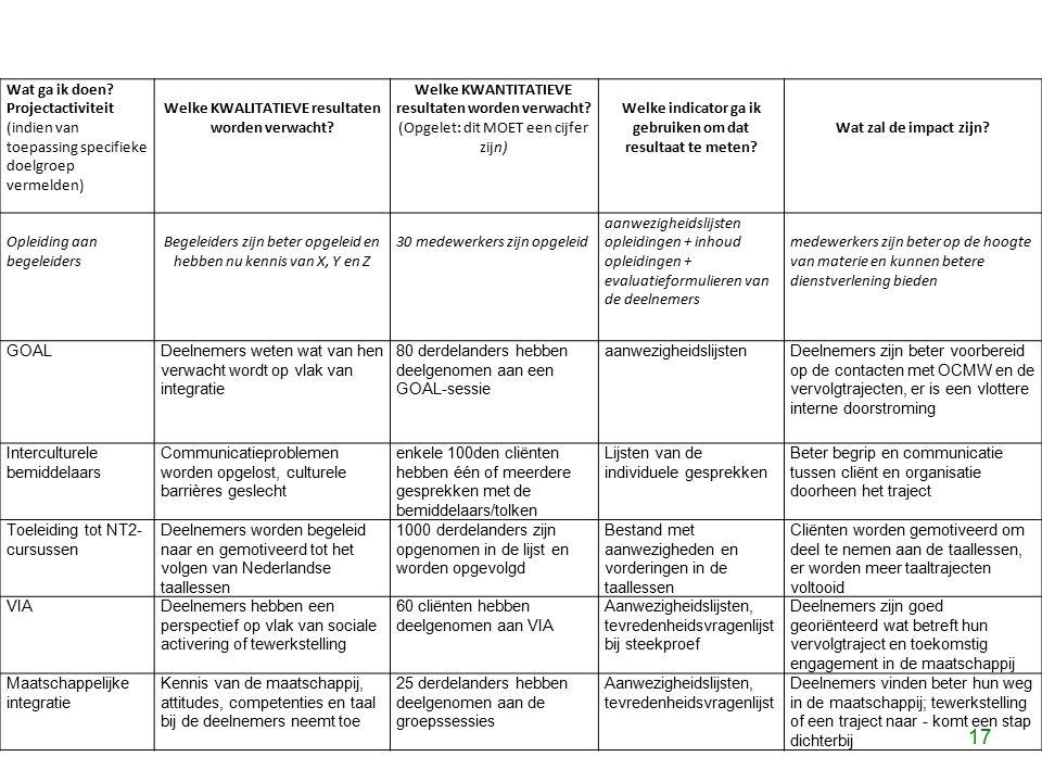 17 Wat ga ik doen? Projectactiviteit (indien van toepassing specifieke doelgroep vermelden) Welke KWALITATIEVE resultaten worden verwacht? Welke KWANT