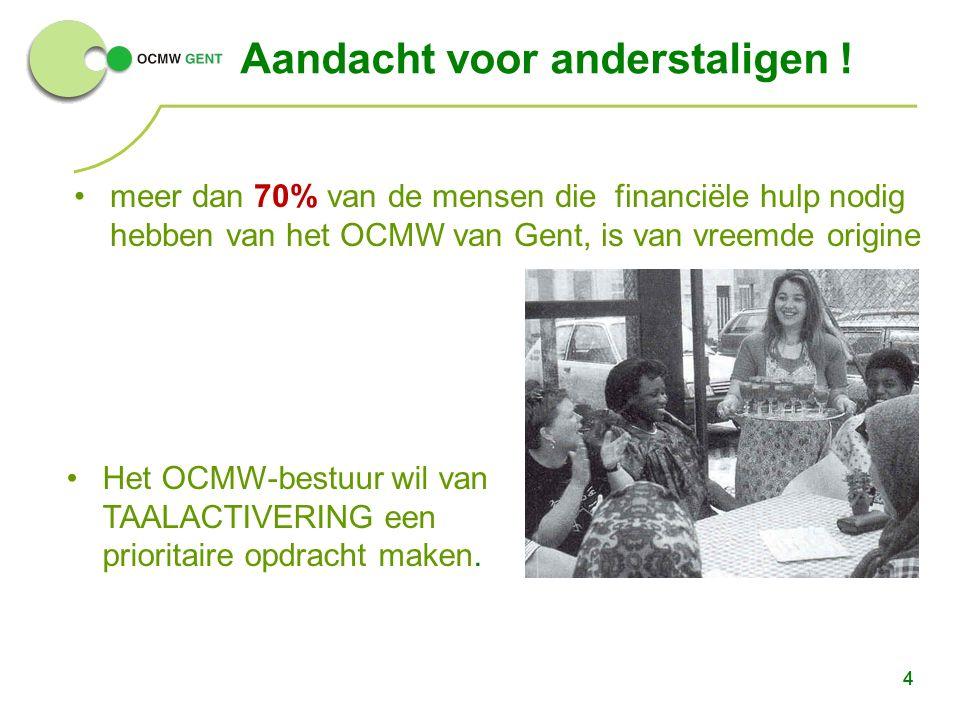 4 Aandacht voor anderstaligen ! meer dan 70% van de mensen die financiële hulp nodig hebben van het OCMW van Gent, is van vreemde origine 4 Het OCMW-b