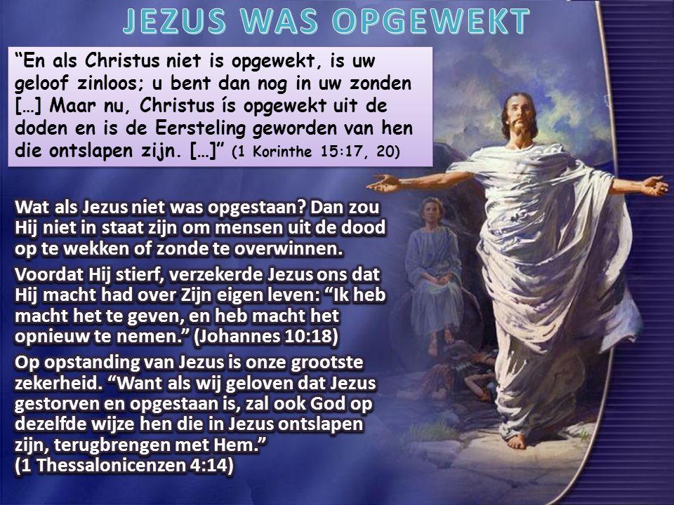En als Christus niet is opgewekt, is uw geloof zinloos; u bent dan nog in uw zonden […] Maar nu, Christus ís opgewekt uit de doden en is de Eersteling geworden van hen die ontslapen zijn.