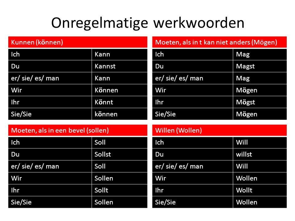 Onregelmatige werkwoorden Kunnen (können) IchKann DuKannst er/ sie/ es/ manKann WirKönnen IhrKönnt Sie/Siekönnen Moeten, als in t kan niet anders (Mög
