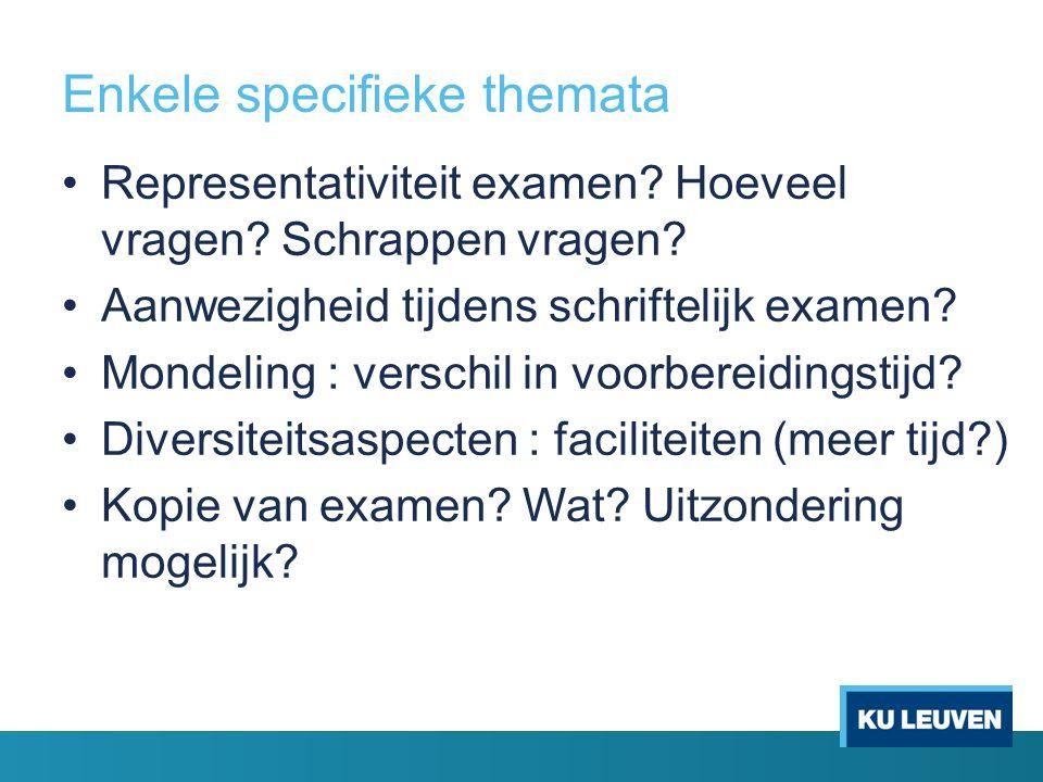 Enkele specifieke themata Representativiteit examen.