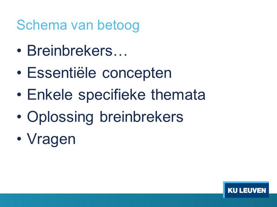 Schema van betoog Breinbrekers… Essentiële concepten Enkele specifieke themata Oplossing breinbrekers Vragen