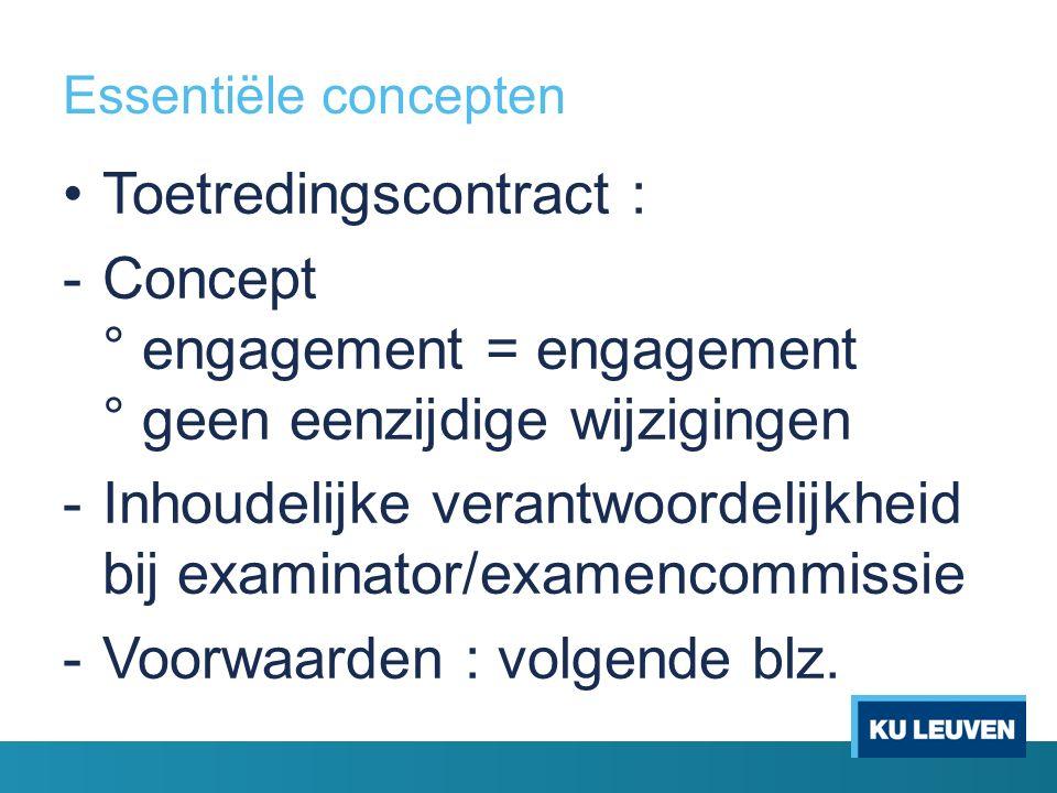 Essentiële concepten Toetredingscontract : -Concept ° engagement = engagement ° geen eenzijdige wijzigingen -Inhoudelijke verantwoordelijkheid bij examinator/examencommissie -Voorwaarden : volgende blz.