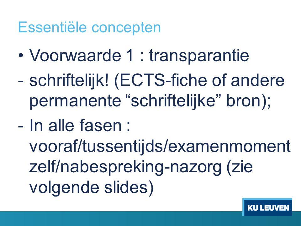 Essentiële concepten Voorwaarde 1 : transparantie -schriftelijk.
