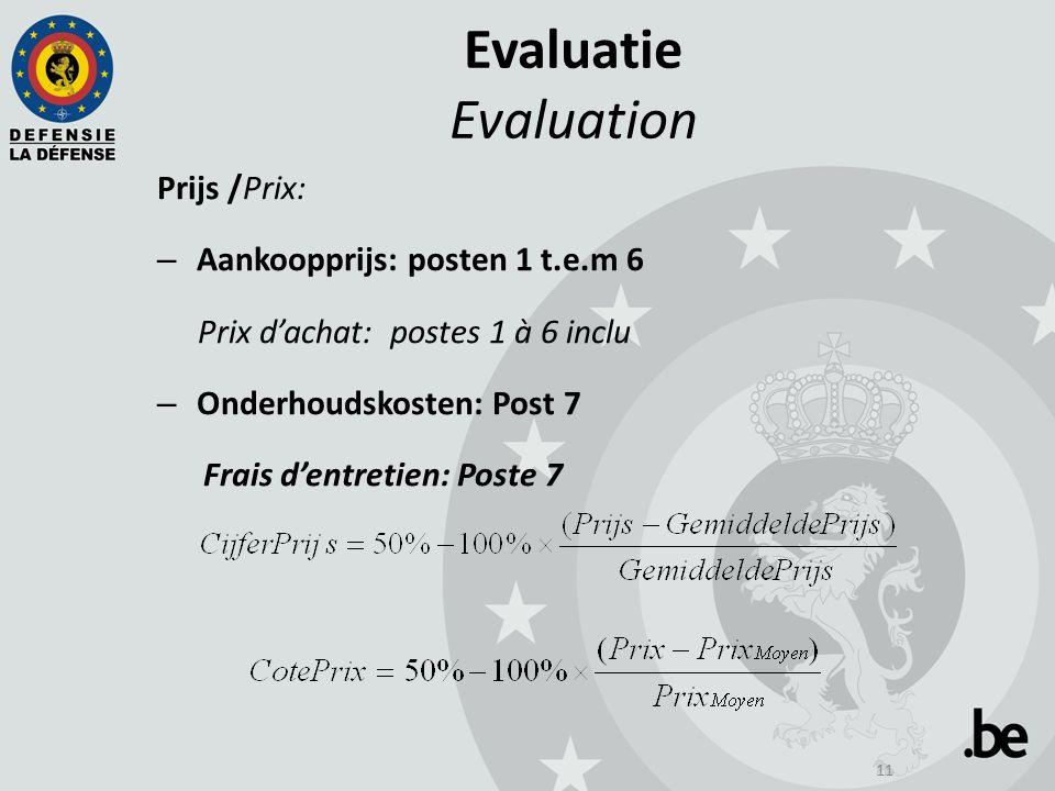 11 Evaluatie Evaluation Prijs /Prix: – Aankoopprijs: posten 1 t.e.m 6 Prix d'achat: postes 1 à 6 inclu – Onderhoudskosten: Post 7 Frais d'entretien: Poste 7